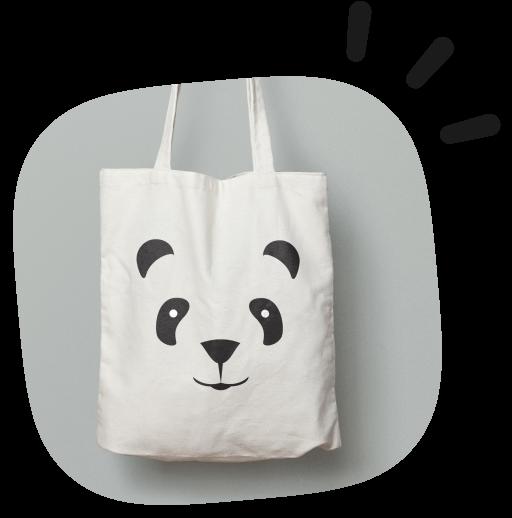 tote bag with animal panda