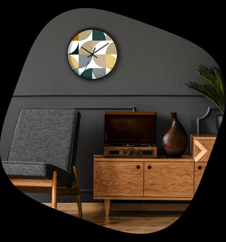 custom wall clock with geometric pattern
