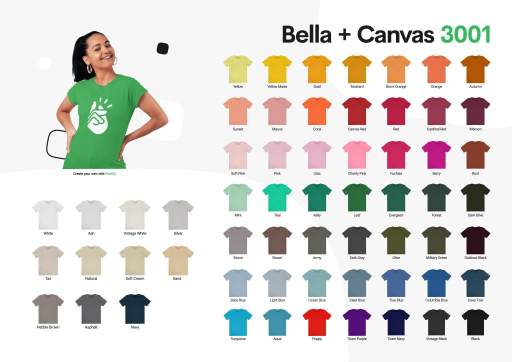 Bella Canvas 3001 color chart