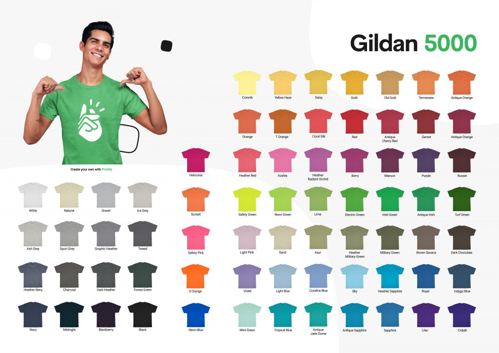 Gildan color chart for Gildan 5000