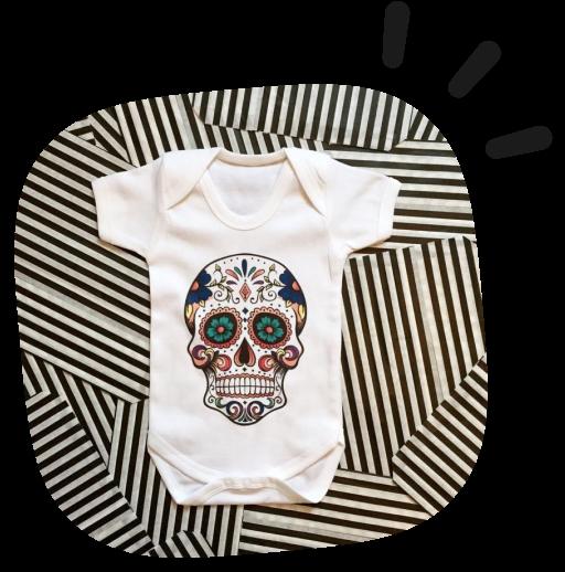 custom sugarskull baby onesie