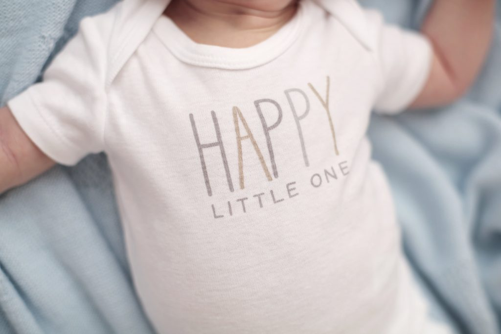 infant wearing custom baby onesie