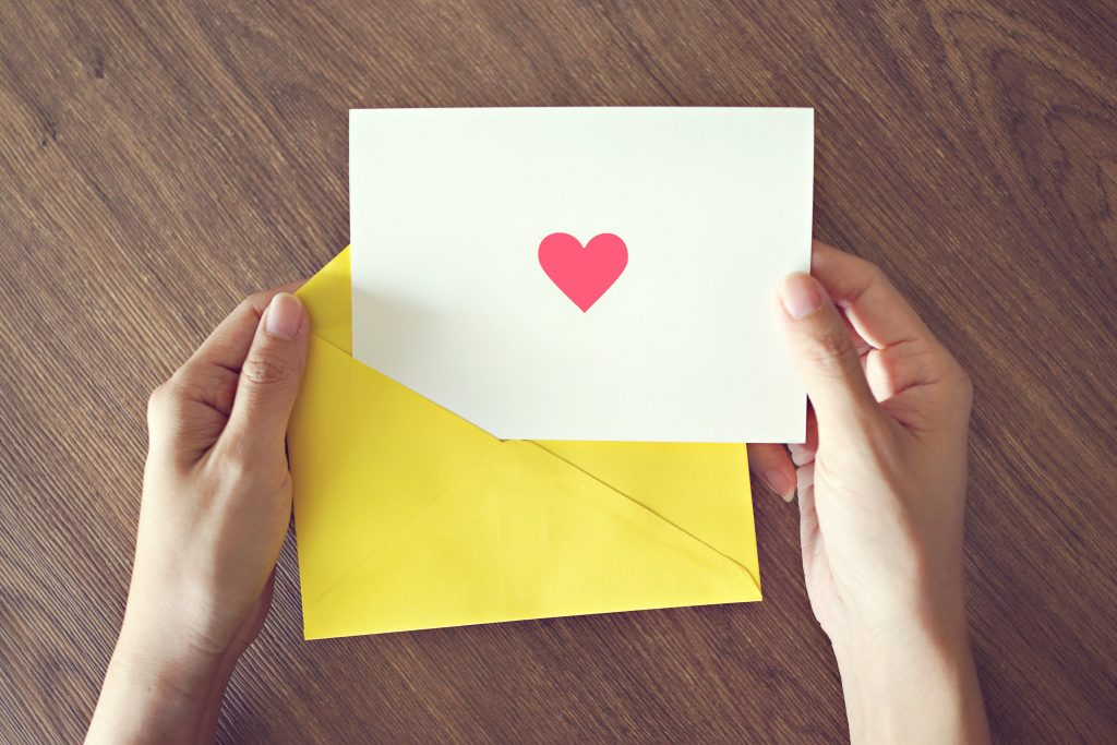 custom greeting card with heart