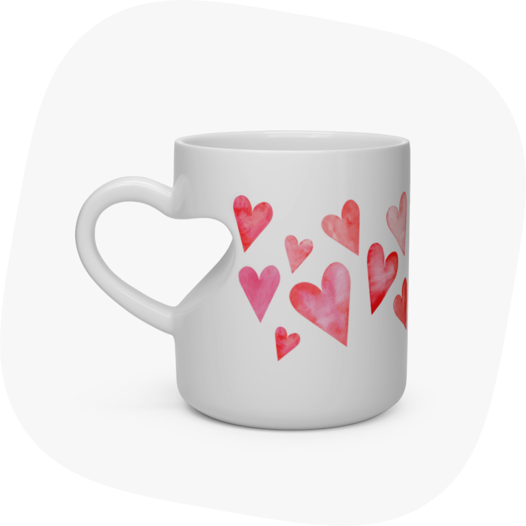 heart shaped custom mug