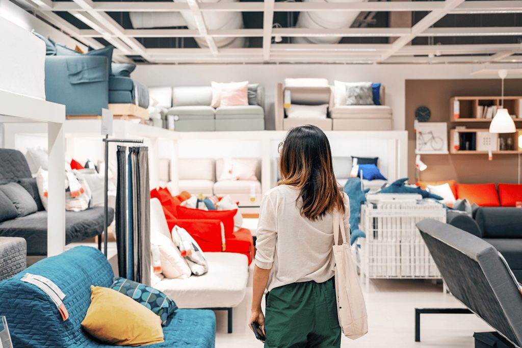 woman shopping modern home decor