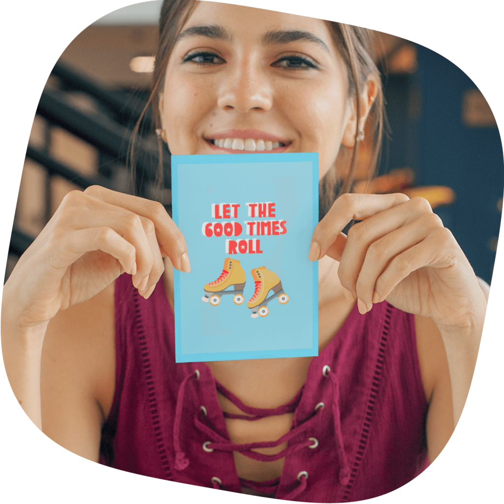 woman holding custom greeting card