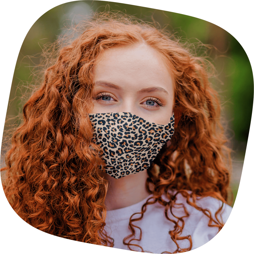 cloth face mask with animal pattern