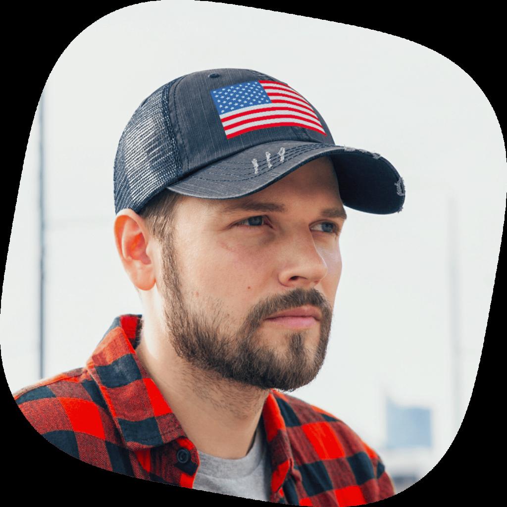 custom trucker hat with usa flag design