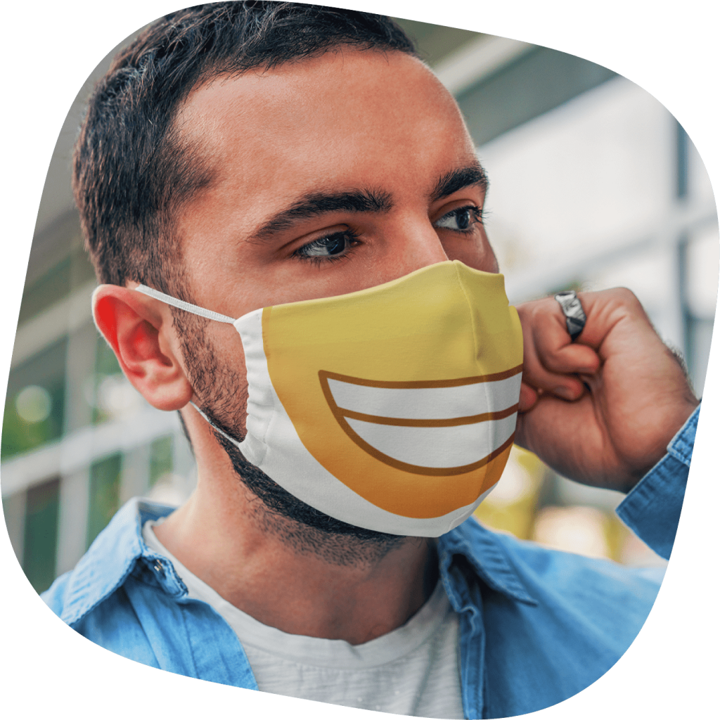 fabric face mask with emoji design