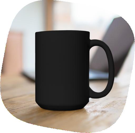 black coffee mug 15 oz