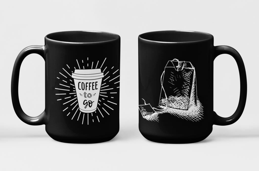 black coffee mug designing