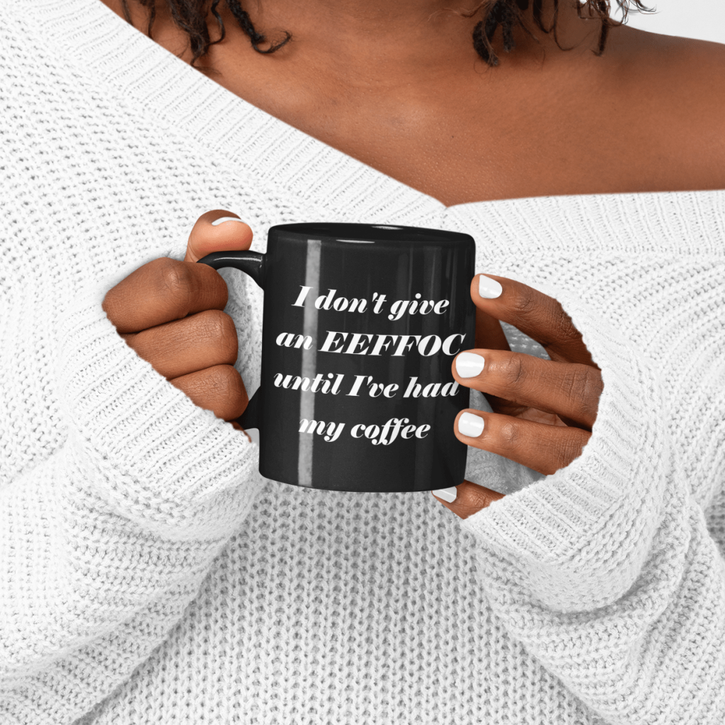 black coffee mugs funny design