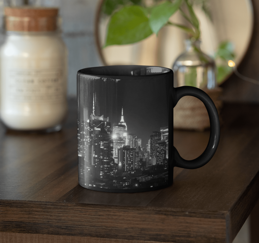 black coffee mug with a city landscape
