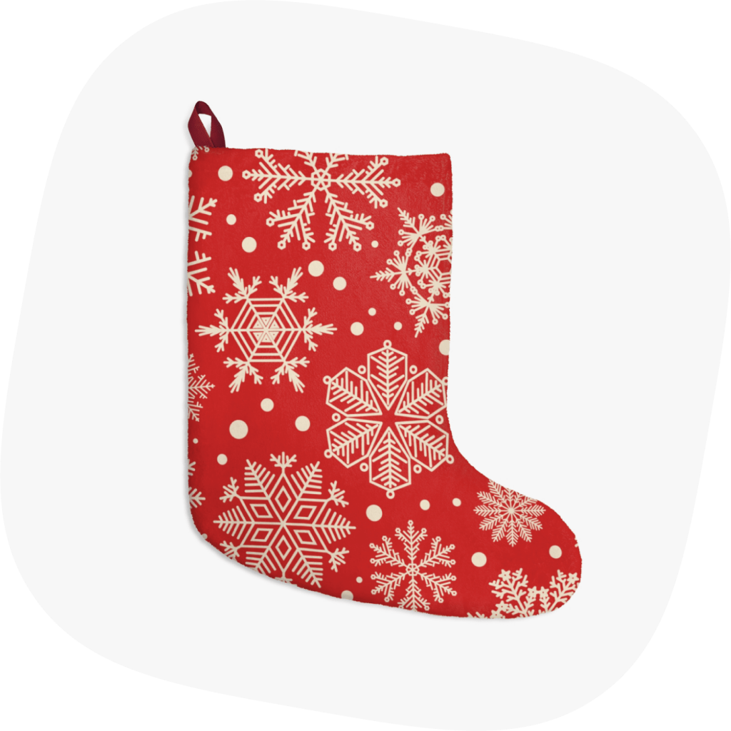 custom christmas stockings with snowflakes