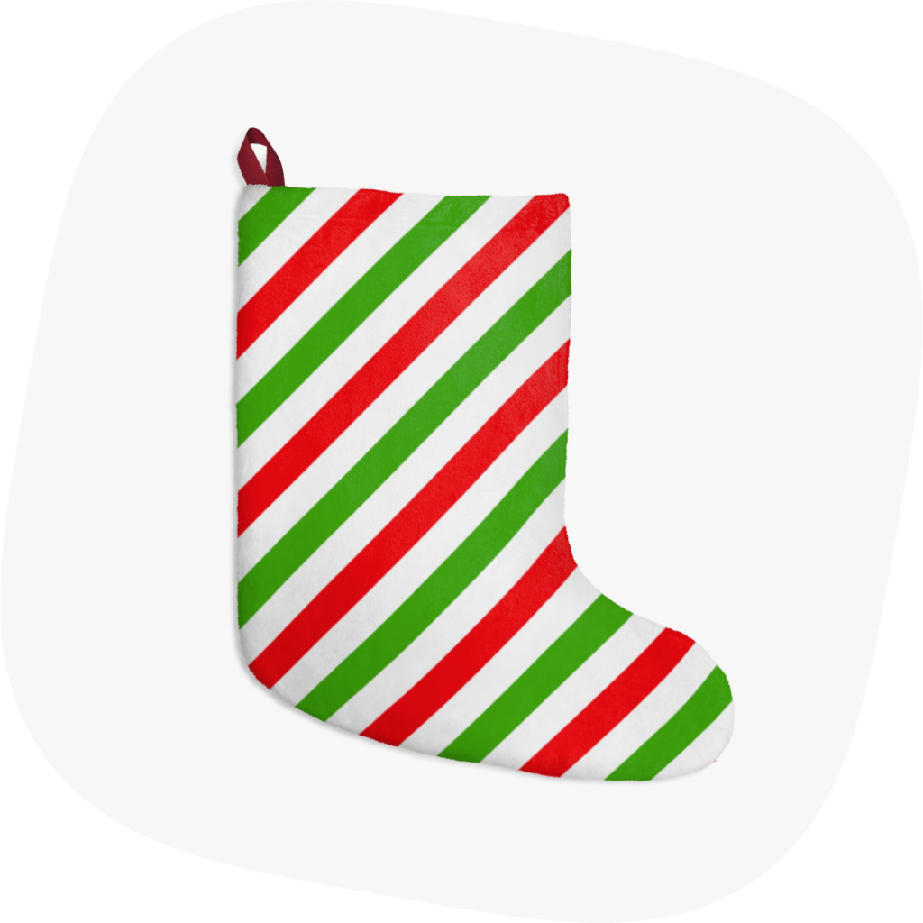 custom christmas stockings with red green stripes