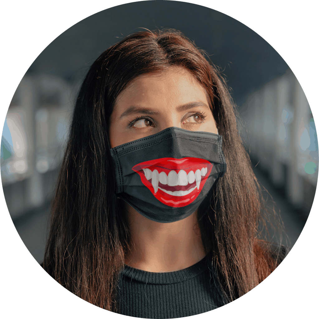 Halloween Face Mask Vampire Mouth Design
