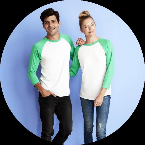 unisex 3/4 tee next level apparel
