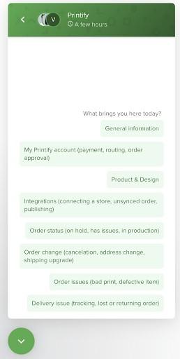 Printify Merchant Support Holiday Conversation
