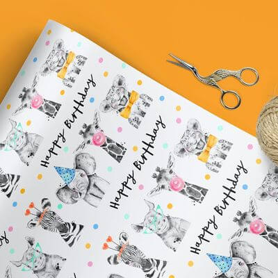Personalized Gift Wrapping Paper Animals