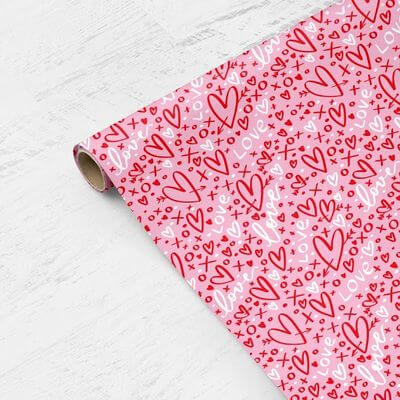 Personalized Gift Wrapping Paper Valentines Pattern