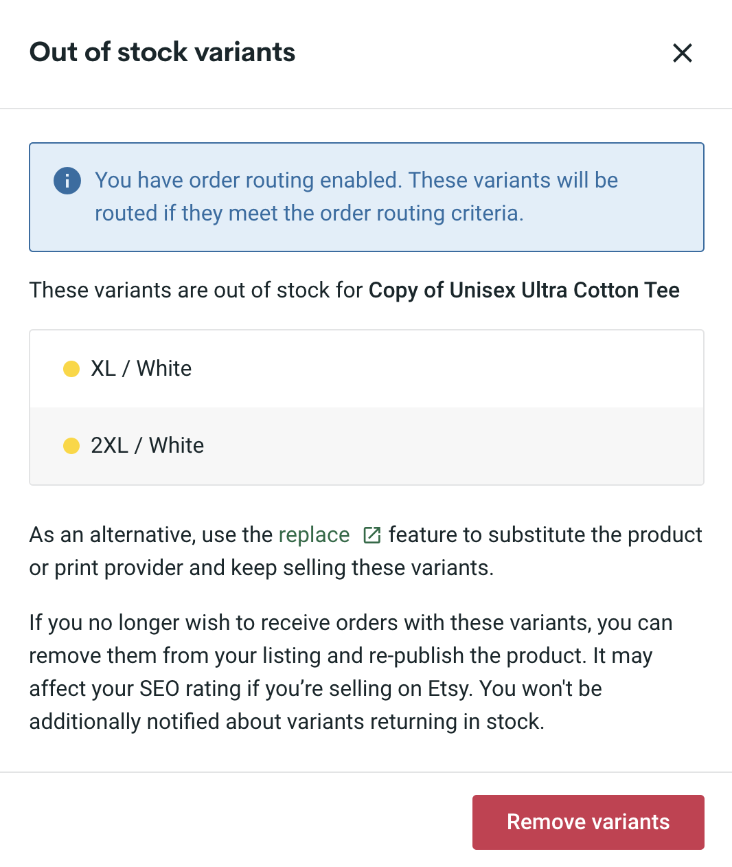 Order Routing Feature Notification