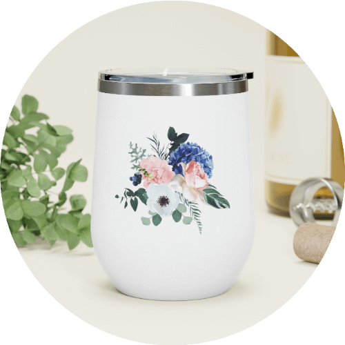 Personalized Wine Tumbler Floral Patterns