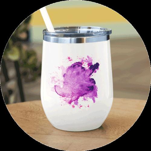 Personalized Wine Tumbler Watercolors