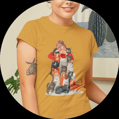 Cat T-Shirts Funny Cat Lady Design