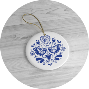 Personalized Christmas Ornaments Folk Art Pattern