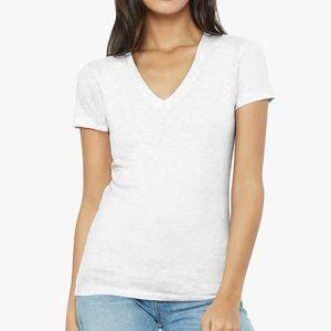 Womens Jersey Short Sleeve Deep V-Neck Tee