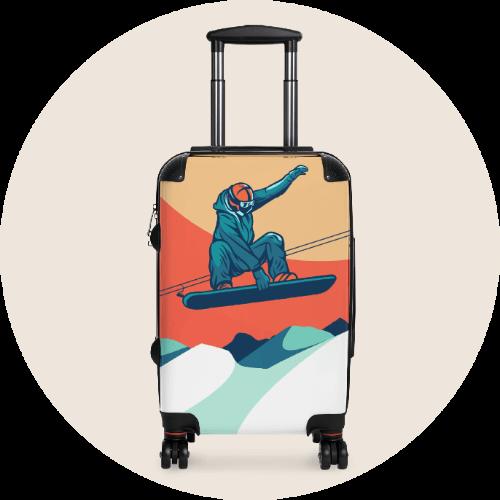 Custom Luggage Suitcases Snowboarding