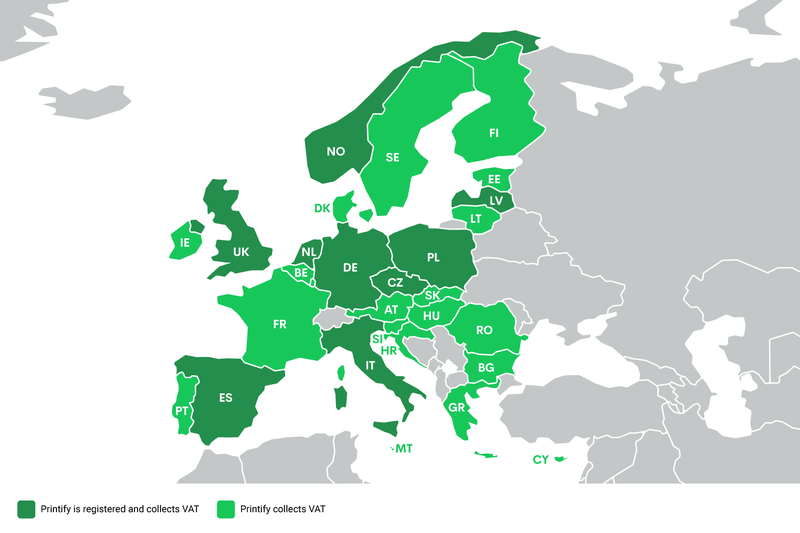 Winning European Union VAT laws with Printify - VAT Collection Map